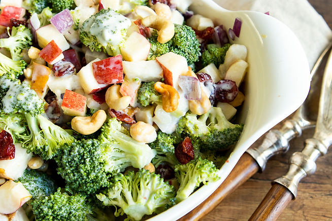 BROCCOLI CASHEW SALAD WITH APPLES & PEAR