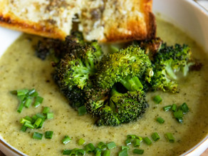 Roasted Broccoli Soup with Melted Cheddar Croutons