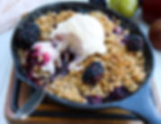 SUMMER FRUIT CRISP WITH ICE CREAM