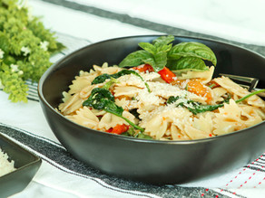 Farfalle with Baby Spinach & Roasted Peppers