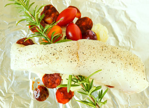 Halibut with Spicy Sausage & Tomatoes