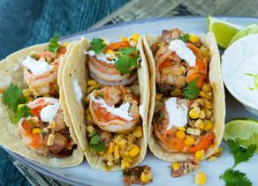 Shrimp Tacos with Corn, Bacon & Lime Crema