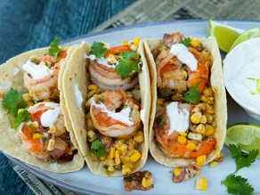 Shrimp Tacos with Corn, Bacon & Lime Crema