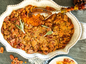 Bourbon Sweet Potato Casserole with Bacon-Pecan Crumble