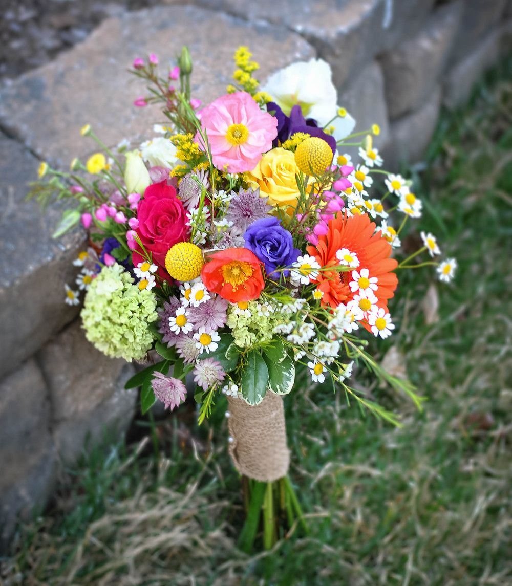 Rustic garden-inspired wedding bouquet