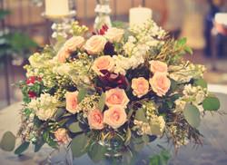 Blush and white wedding centerpiece