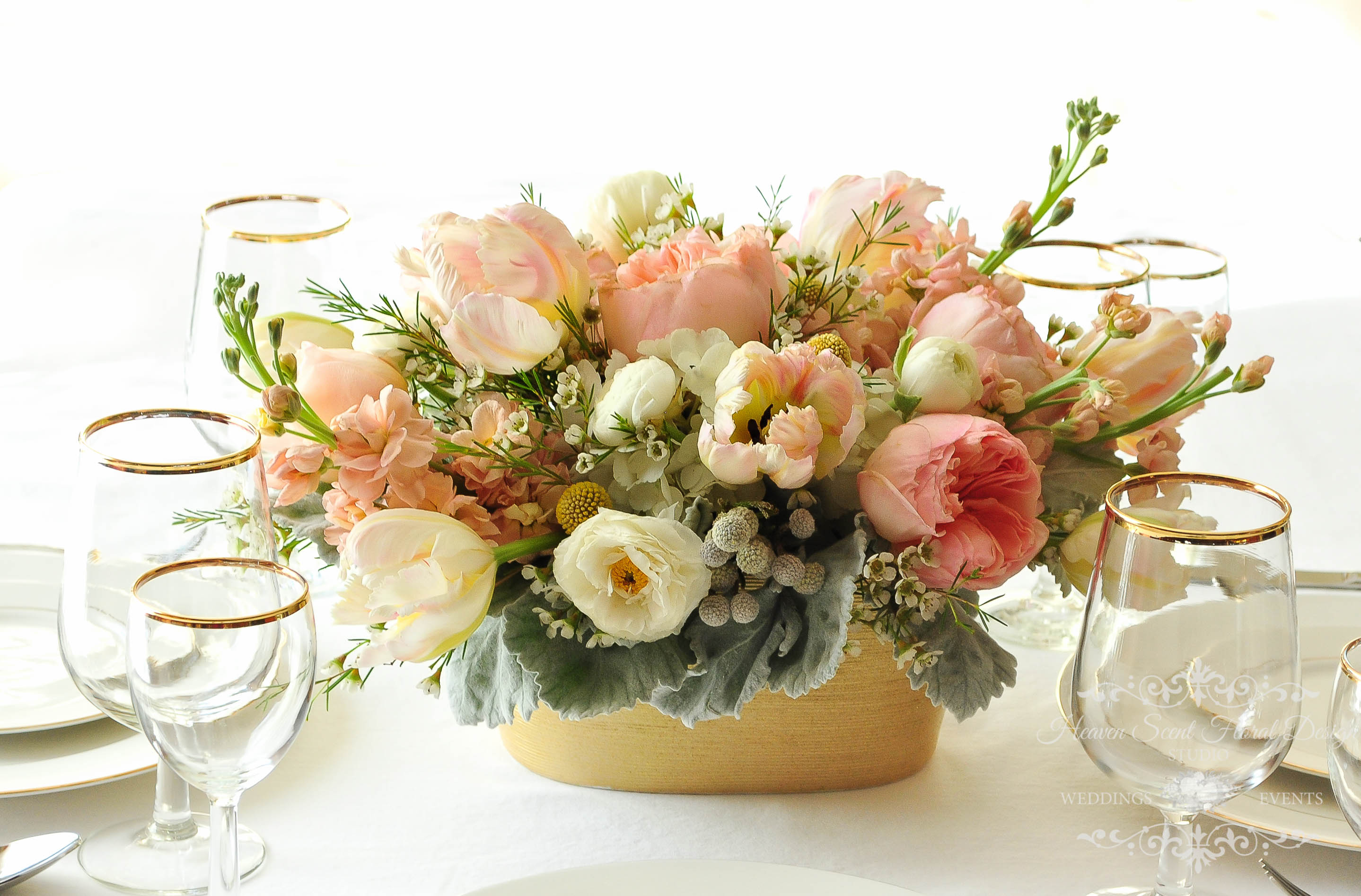 Peach and blush wedding flowers