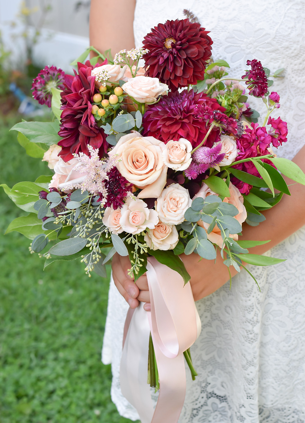 Blush and Burgundy Bridal Bouquet