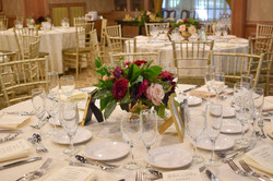 Burgundy and blush table centerpiece