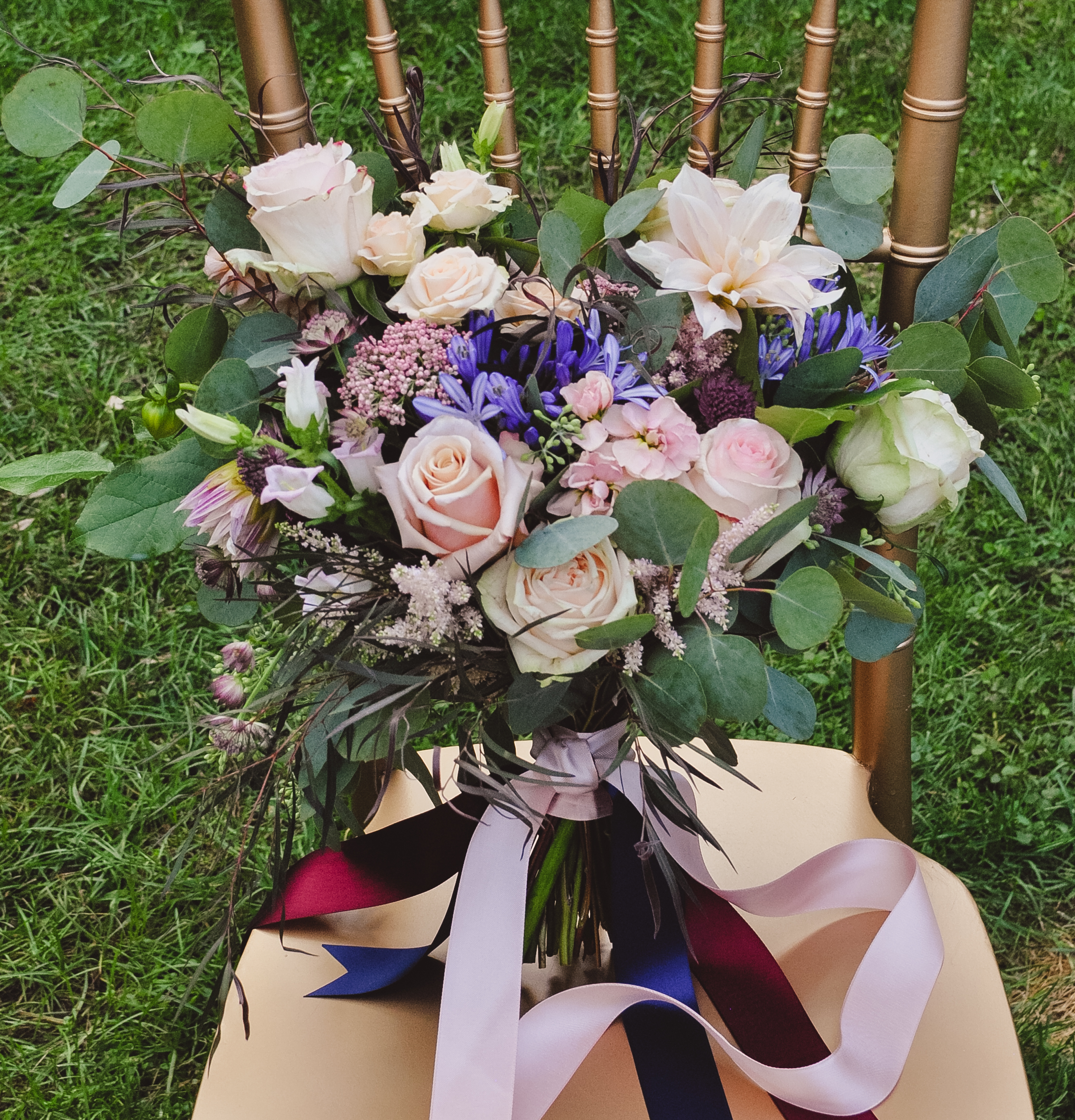 Blush garden style bridal bouquet
