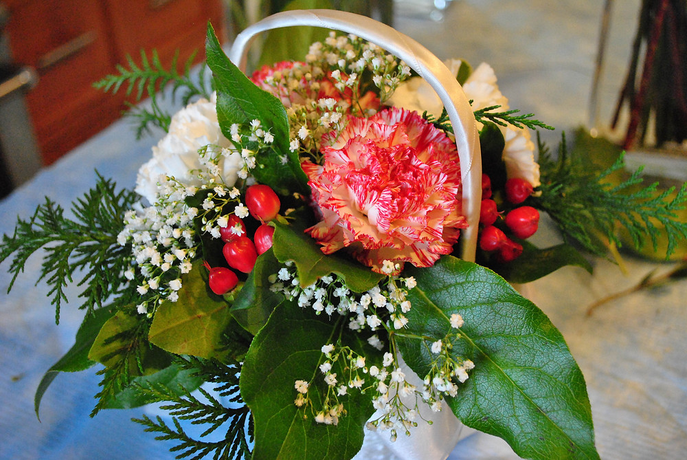Flower Girl Basket of Red and White flowers | NJ Wedding Florist | Heaven Scent Floral Design