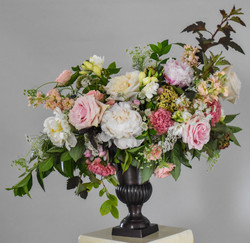 Peonies and roses ceremony altar arrangment