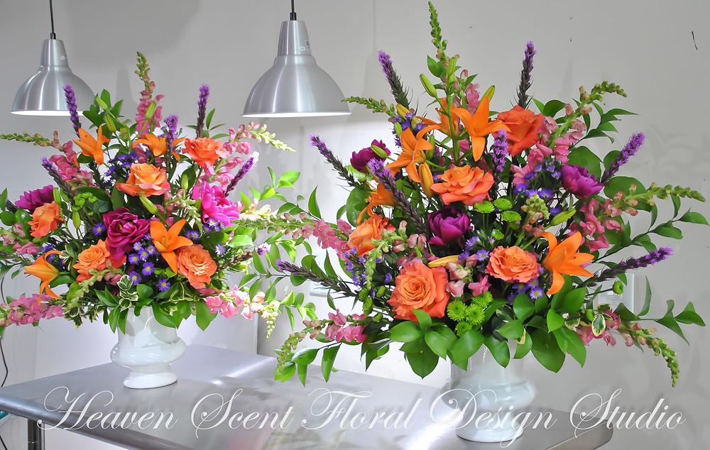 Hot pink peonies and orange roses Altar Floral Arrangements