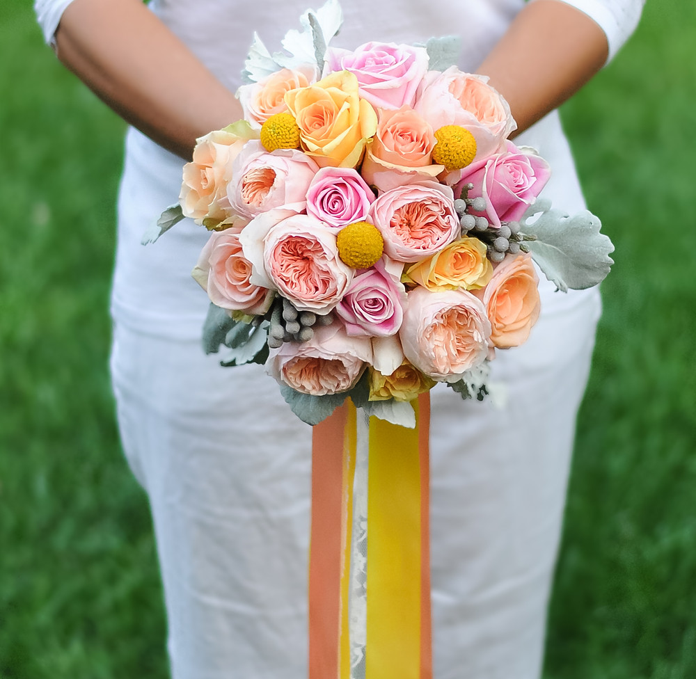 peach, pink and yellow wedding bouquet