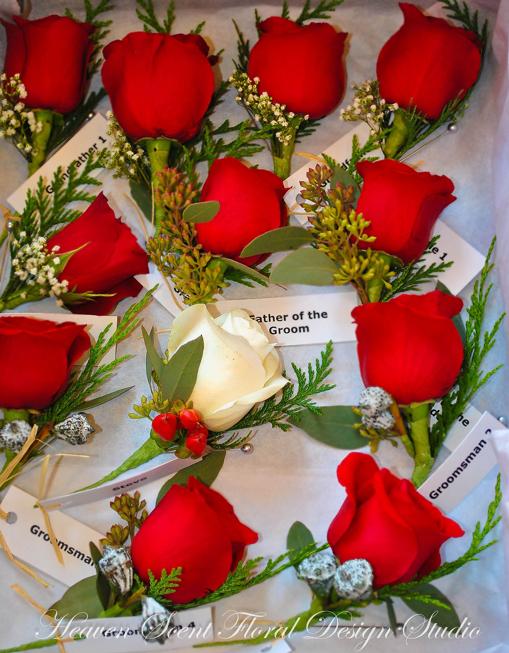 Red roses boutonnieres | NJ Wedding Florist | Heaven Scent Floral Design