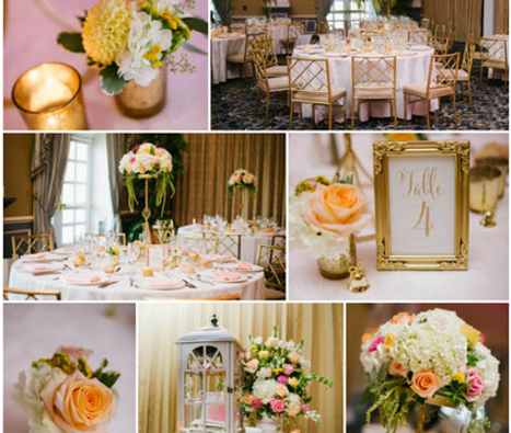 Peach and gold wedding flowers | Heaven Scent Floral Design