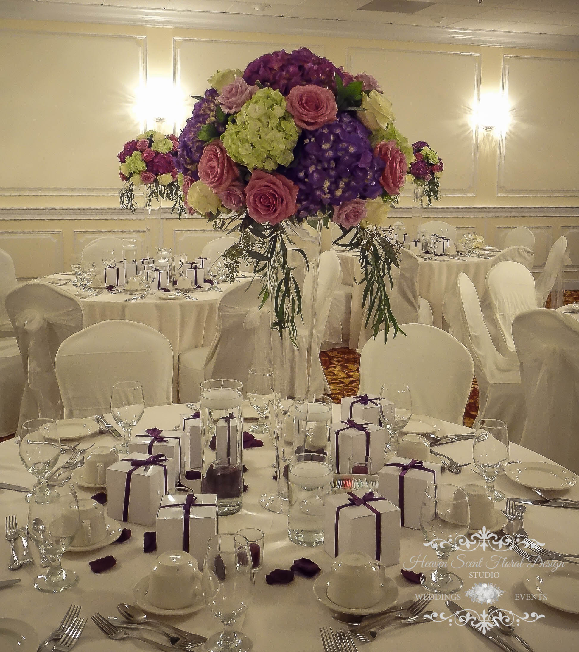 Tall Purple Wedding Centerpiece