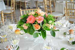 Peach and coral table centerpiece