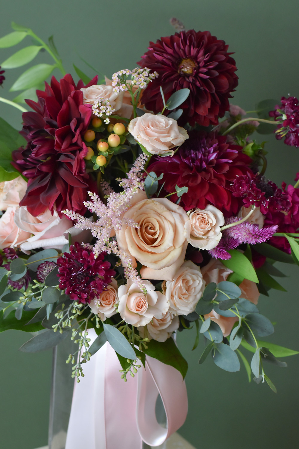 Blush and Burgundy Wedding Flowers
