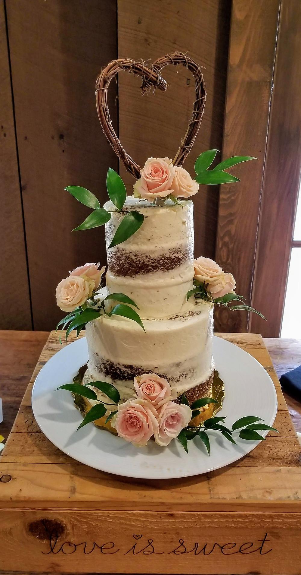 Blush wedding cake at Waterloo Village