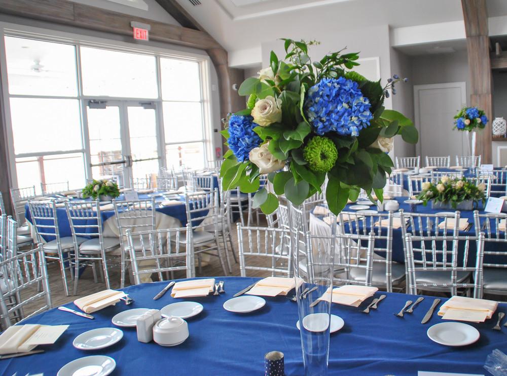 Blue hydrangea tall centerpiece | Heaven Scent Floral Design | NJ Wedding Florist