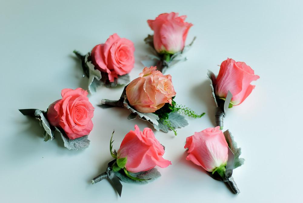 Peach, blush and coral wedding boutonniere | Heaven Scent Floral Design | NJ Wedding Florist