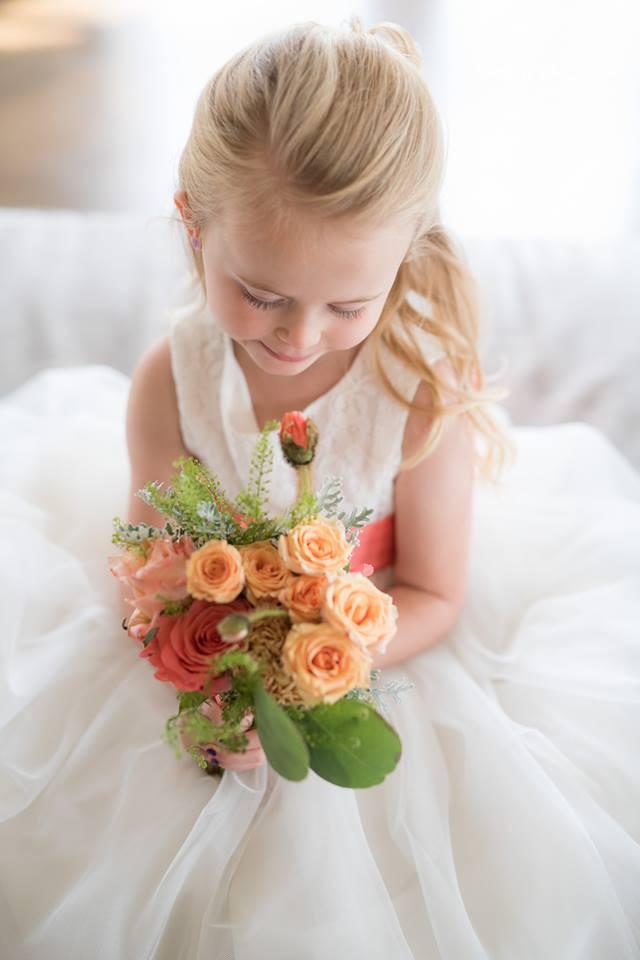 Peach, blush, and coral wedding flower girl | Heaven Scent Floral Design | NJ Wedding Florist