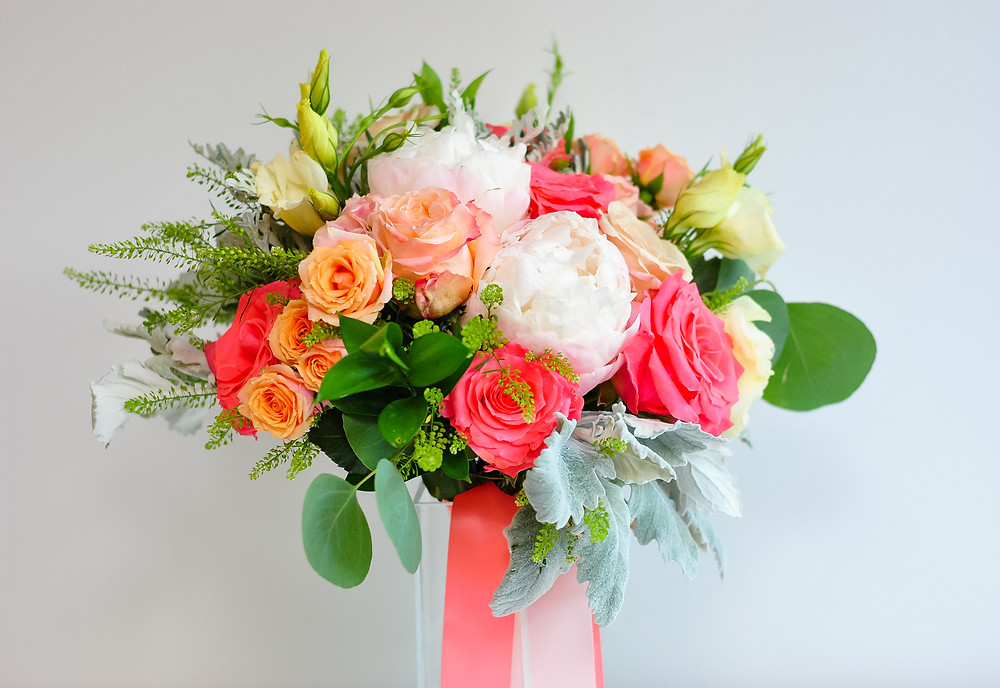 Peach, blush, coral wedding bouquet