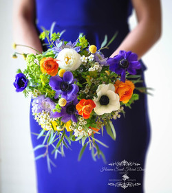 White and blue anemone bouquet