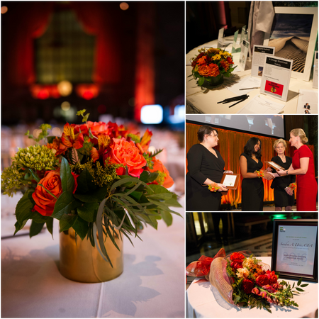 Orange and gold fall table centerpiece