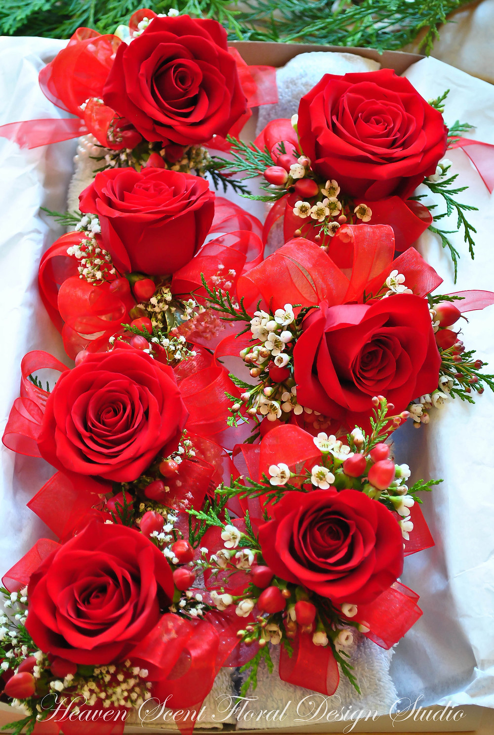Red roses corsage | NJ Wedding Florist | Heaven Scent Floral Design