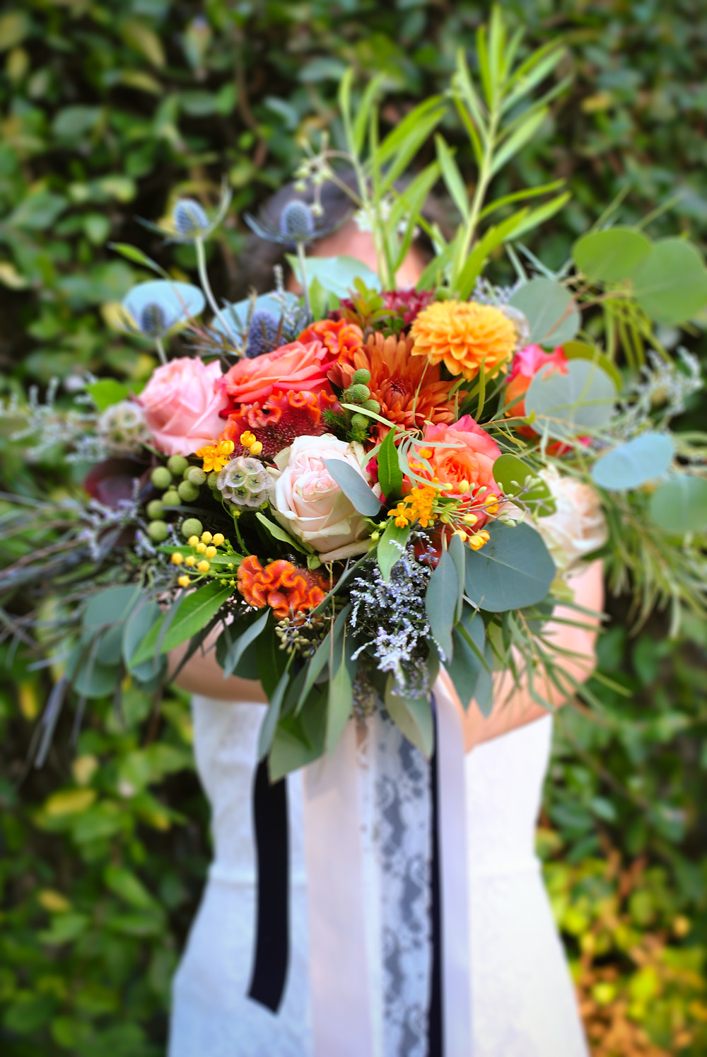 burnt orange and golden yellow wedding bouquet