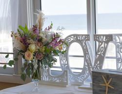 Beach wedding table centerpiece at Park Pavilion Seaside Park