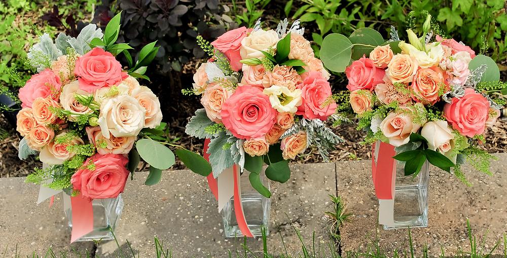 Peach, blush and coral bridesmaids bouquet | Heaven Scent Floral Design | NJ Wedding Florist