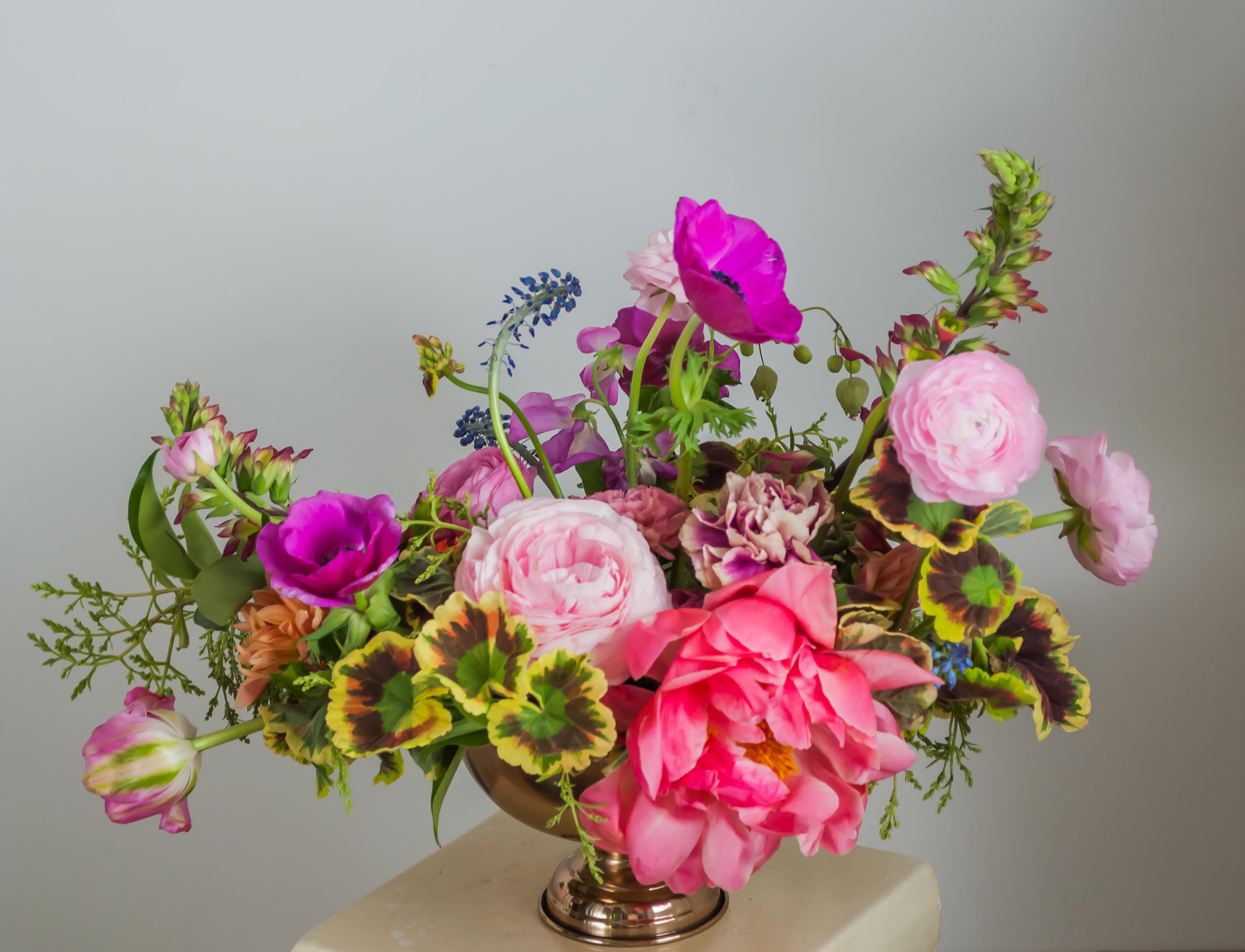 Pink Garden Style Wedding Flowers