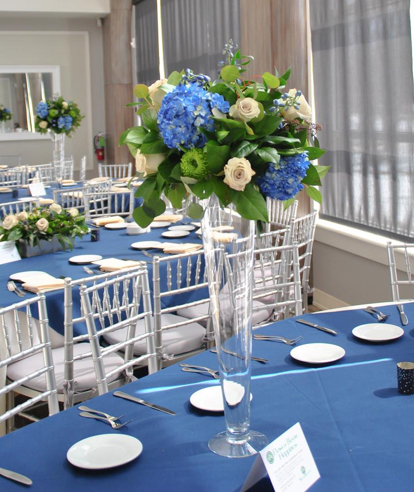 Blue and white hydrangea tall centerpiece | NJ Wedding Florist