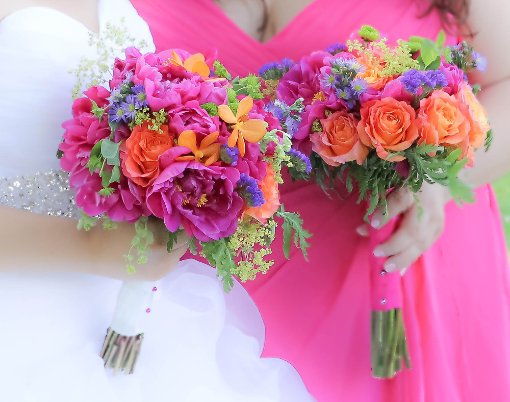 Hot pink peonies bridal bouquets