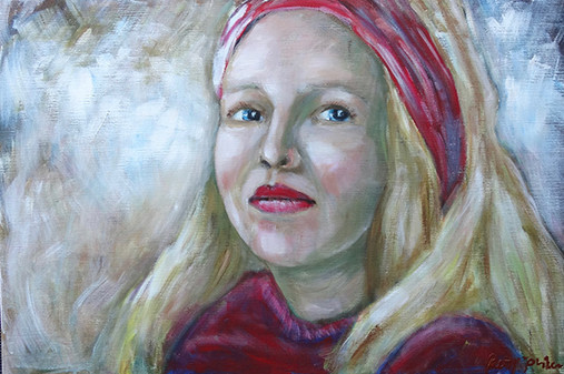 Lady with the red scarf