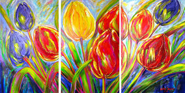 Dancing Tulips. triptych