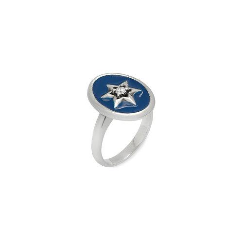 Anel Estrela de Davi fundo azul