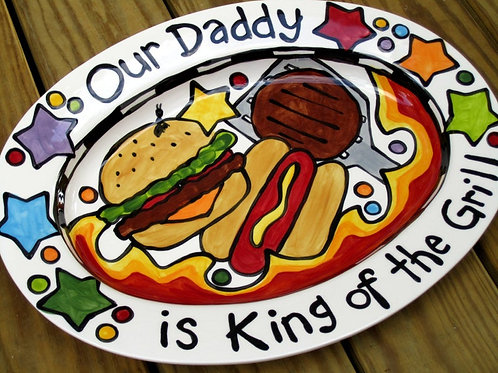 Custom BBQ Platter Our Daddy is King of the Grill LG oval ceramic serving dish