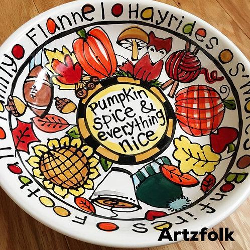 Custom Fall decor thanksgiving original art Handmade Ceramic serving bowl dish