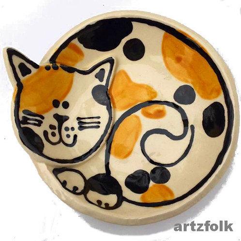 Custom handmade pottery cat ring trinket dish or small food bowl by Artzfolk