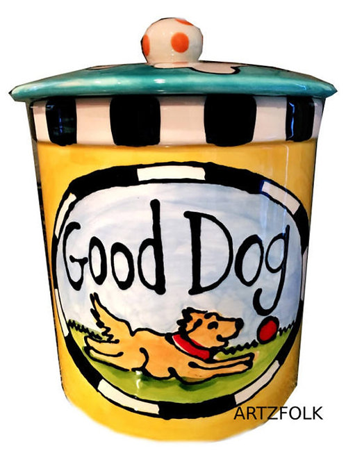 Custom Ceramic Treat Jar for dogs whimsical personalized choice of colors