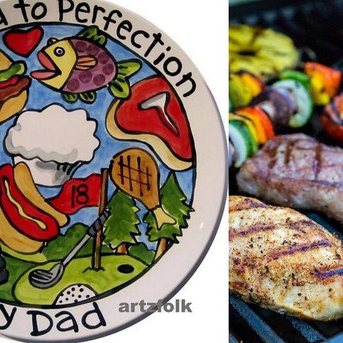 "BBQ lover Family or wedding Custom personalized Story Art 13"" round ceramic"