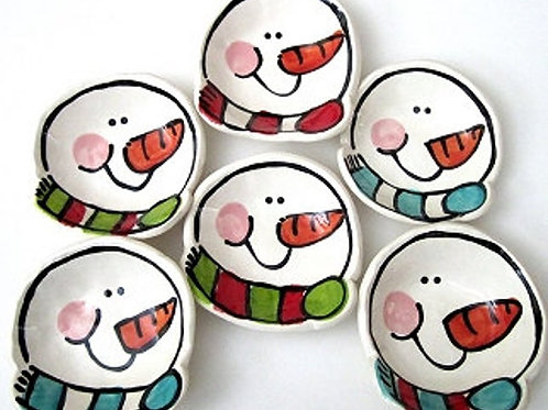 Handmade small snowman pottery bowls Can be personalized By Artzfolk