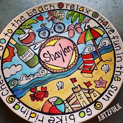 "NEW SIZE Handmade CUSTOM 13"" ceramic Family Platter Personalized story art"