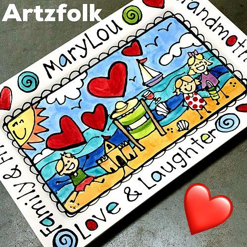 Rectangle Platter Custom Personalized family story art theme