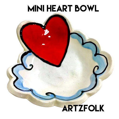 Red heart Handmade original art Pottery mini bowl by Artzfolk can be personalize