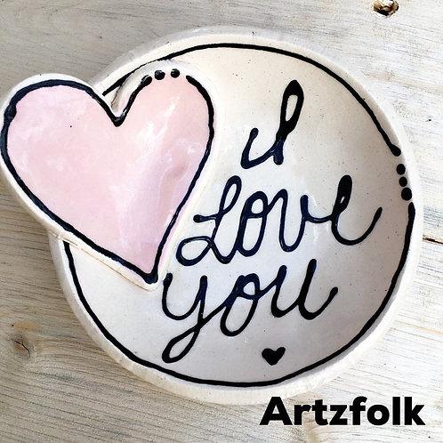 Love heart Handmade original art Pottery mini bowl by Artzfolk